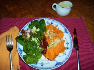 Sweet potato with Coconut-ginger cream sauce with fresh greens