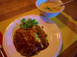 Spinach Enchiladas with Roasted Red Chili Sauce