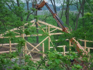 """They are setting the rafters on the barn; just before they were rained out by a 1.75"""" deluge."""