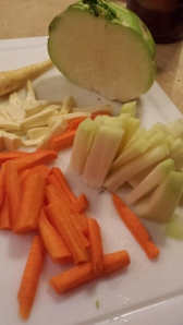 Parsnips, kohlrabi, and carrots, cut for stir-fry